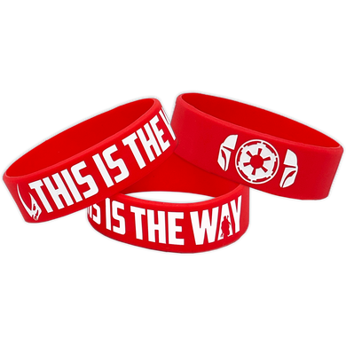 Mandalorian inspired This Is The Way Beskar Red Rubber Silicone Bracelet (8 inch)
