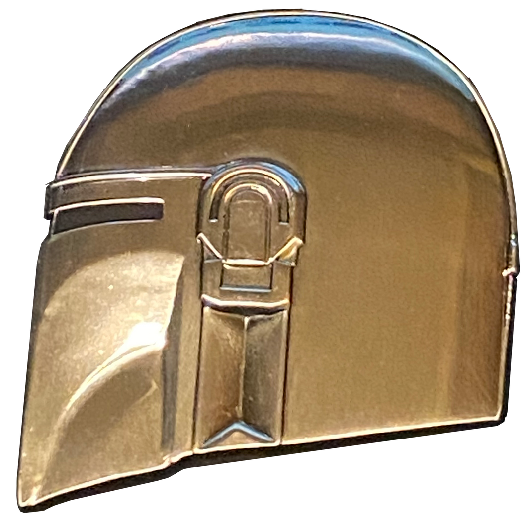 DL11-03 Star Wars The Mandalorian inspired helmet mask pin with dual pin posts and deluxe locking clasps