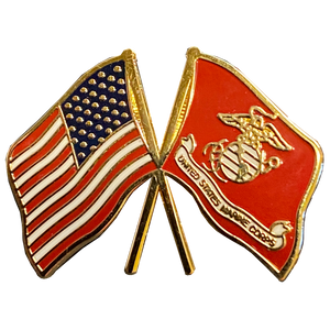 M-28 US MARINE CORPS and American Flag cloisonné lapel pin US Marines Crossed Flags