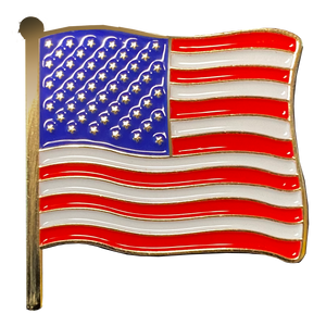 "CL6-14 American Waving Flag Lapel Pin 1.25"" with 2 pin posts and deluxe clasps, U.S. Stars are Stripes, Old Glory US USA Presidential"