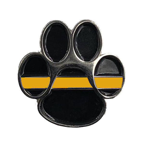 CL-014 K9 Paw Thin Orange Line Canine Lapel Pin Search and Rescue, EMT, EMS, Paramedic