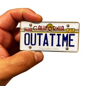 DL8-06 Back to the Future inspired OUTATIME Delorean California License Plate Challenge Coin