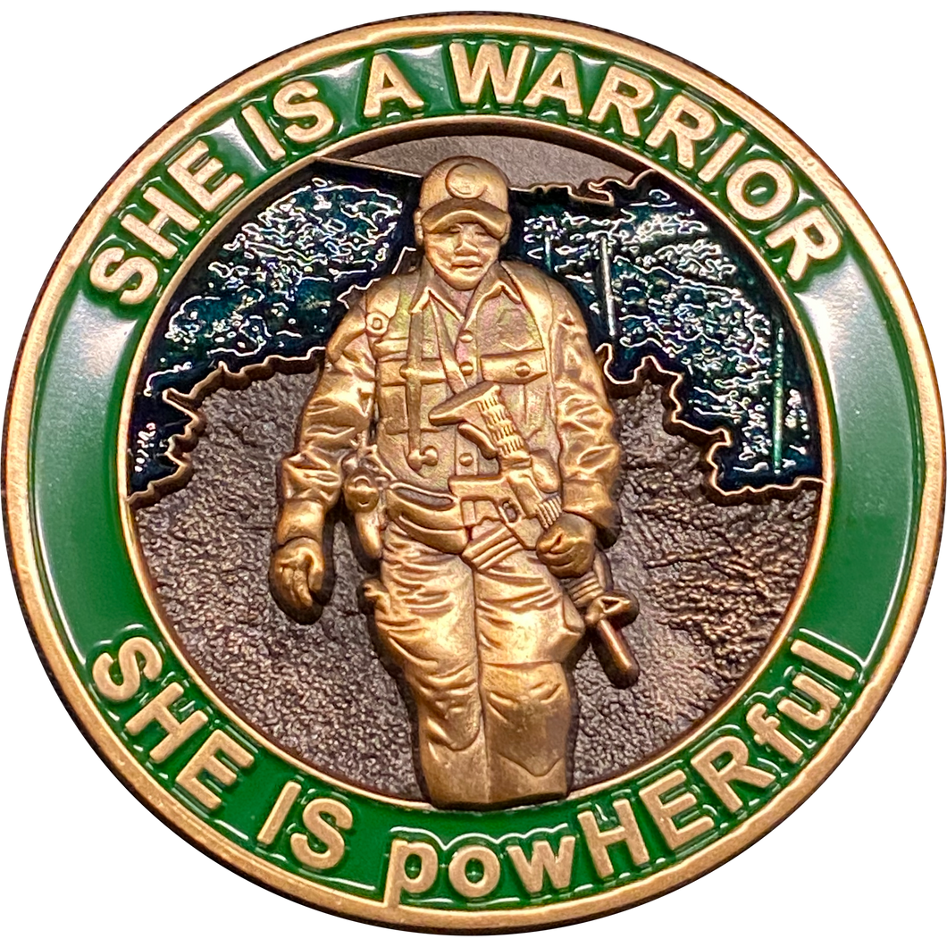 DL3-12 She is a powHERful Warrior thin green line Police Border Patrol Military Tactical Female Challenge Coin Agent Officer CBP