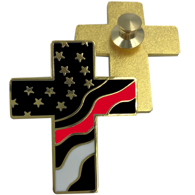 Thin Red Line American Flag Cross USA Lapel pin Cloisonné Fire Fighter Department Firefighter