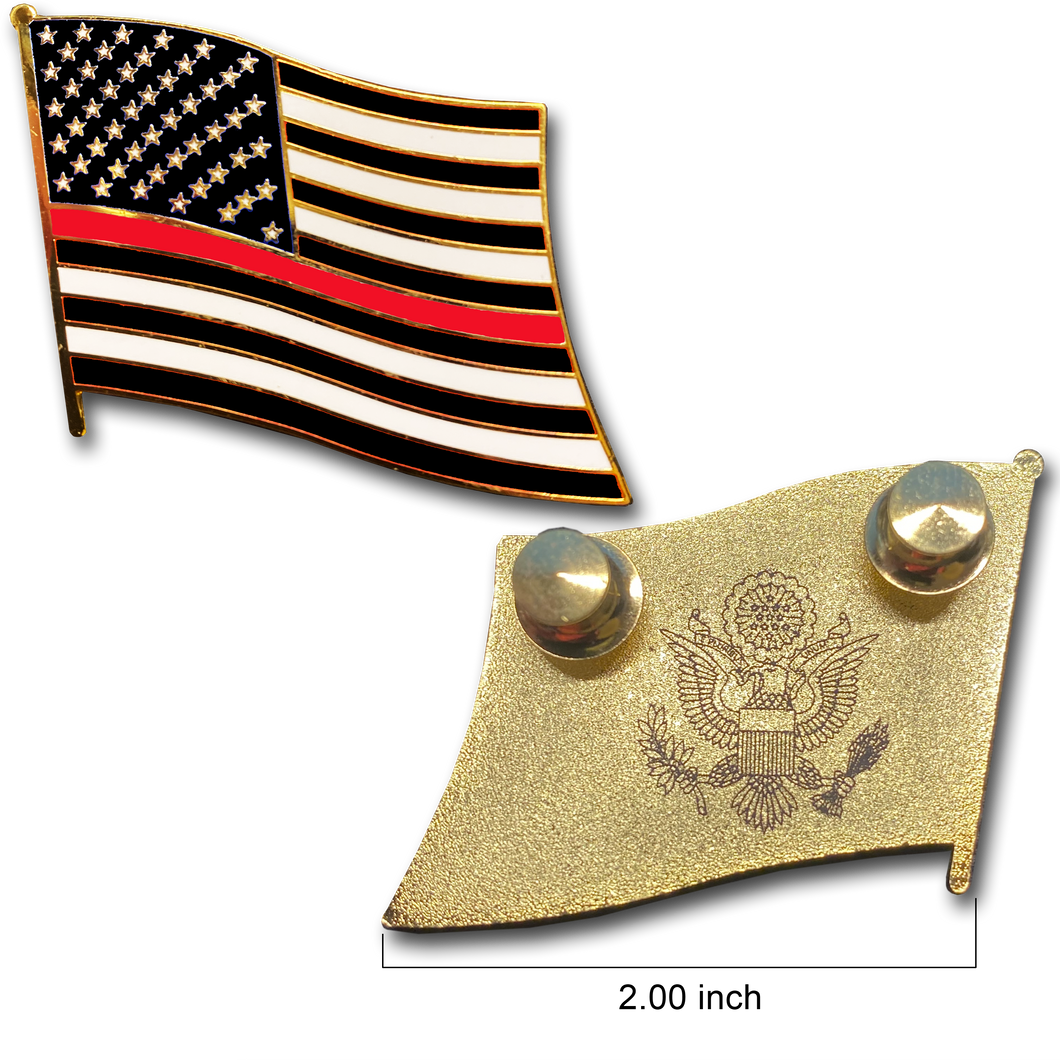 Thin Red Line Police Large cloisonné American Flag Lapel Pin with 2 pin posts, 2 deluxe clasps Firefighter Fire Fighter