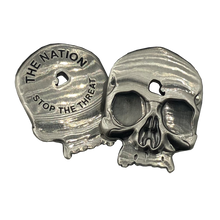 Headshot Skull Challenge Coin with shot thru forehead