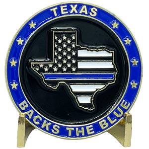 BL3-005 Texas BACKS THE BLUE Thin Blue Line Police Challenge Coin with free matching State Flag pin back the blue Sheriff trooper