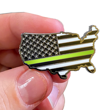 Thin Gold Line 911 Dispatcher U.S. Map Pin with 2 pin posts and deluxe pin clasps emergency yellow