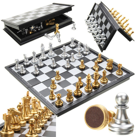 Luxury Silver and Gold Chess Set
