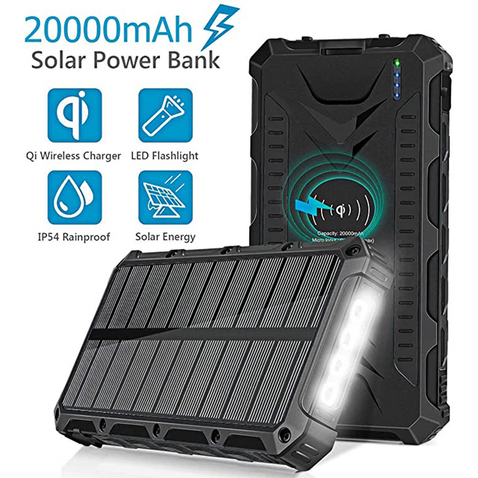 Waterproof Wireless & Solar Charging Power Bank 20,000 mAh - Modern Idea