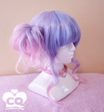 Cute Curly Japan Pink Pastel Blue Raspberry Wig with Blunt Short Bangs Fringe - peachiieshop