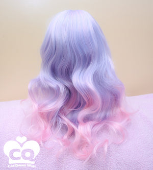 Blue Raspberry 60cm Pink Blue Ombre Wig - peachiieshop