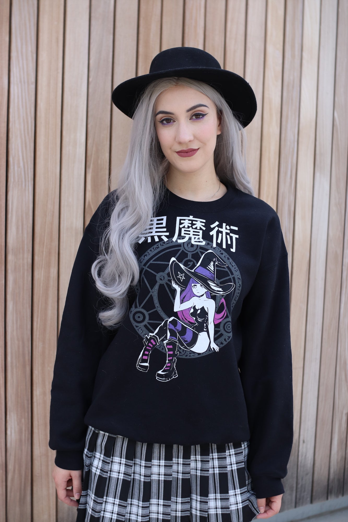 'BLACK MAGIC' Sweater // 黒魔術 Kuromajutsu Black Long Sleeve Pullover Sweater by Fawnbomb - peachiieshop