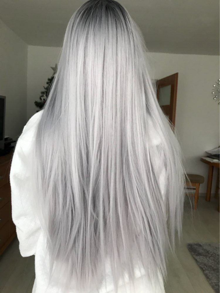 Long 24inch 60cm Ombre Shadow Root Straight Silver White