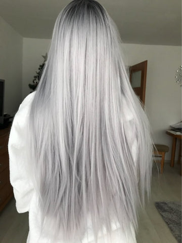 Long 24inch 60cm Ombre Shadow Root Straight Silver White Grey Gray Heat Resistant Kanekalon Wig - peachiieshop