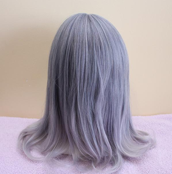 ANTIQUE MOON Silver Ombre Medium Length Ash Grey Wig with Bangs - peachiieshop