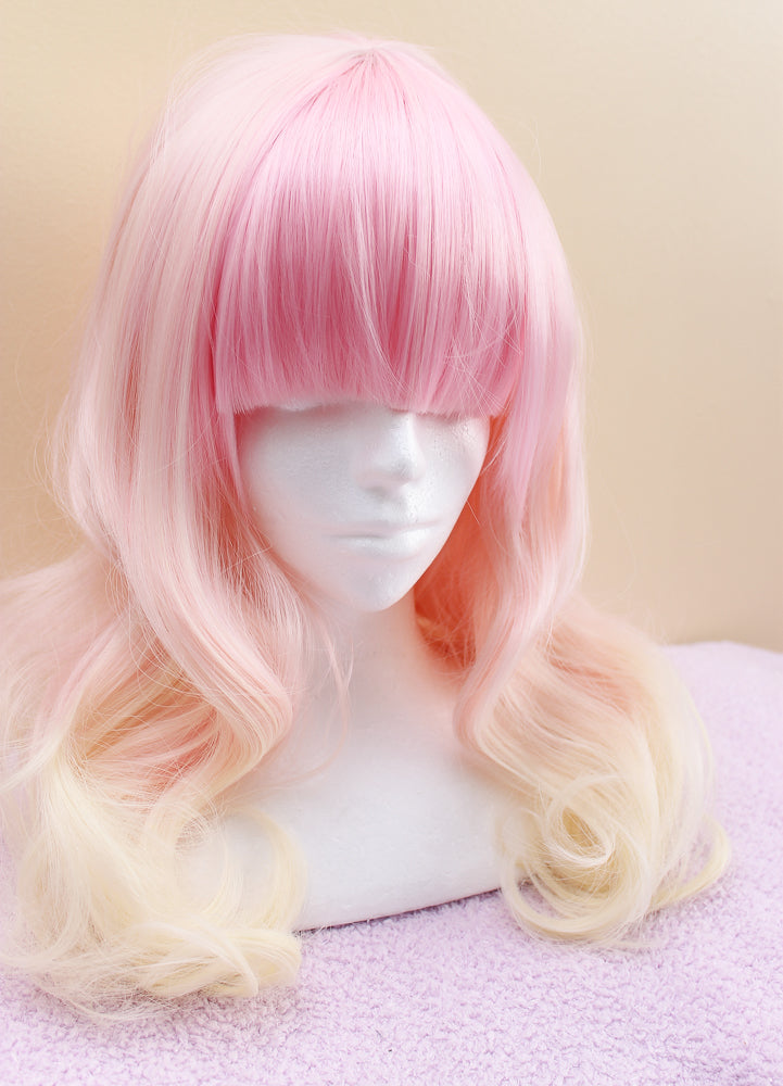 Strawberry Lemonade Wavy Heat Resistant Wig 60cm - peachiieshop