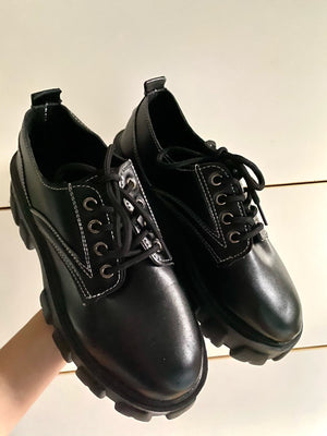 Lace-up Oxford style Schoolgirl Chunky Platform Shoes