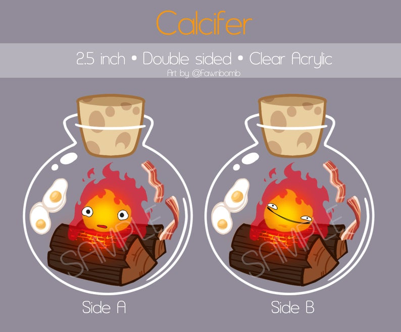 Bottled CALCIFER Keychain Clear Acrylic 2.5 inch by fawnbomb - peachiieshop