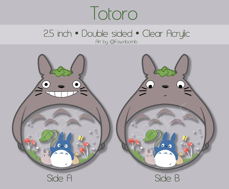 "My Neighbour Totoro Acrylic Keychain 2.5"" clear charm - peachiieshop"