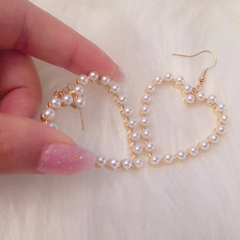 Pearl Heart Drop Earrings (Hook/Clip-on) - peachiieshop