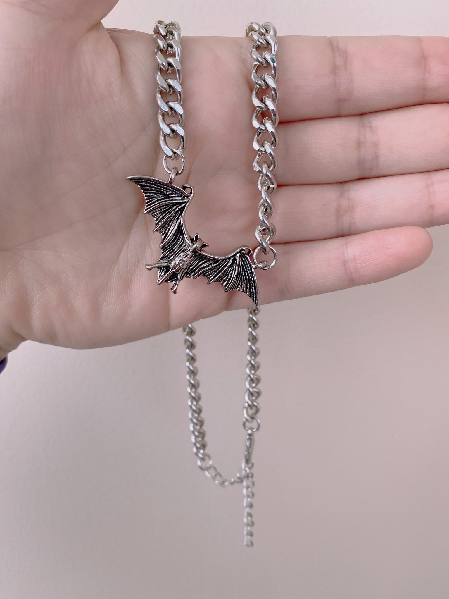 Silver Chain Bat Necklace