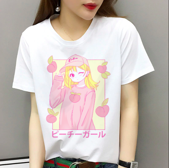 Peachiie Girl T-Shirt (White) by fawnbomb - peachiieshop