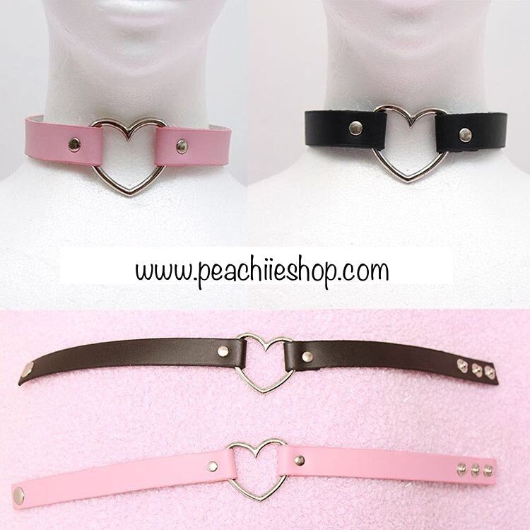 Pastel Goth Heart Choker (5 colours) - peachiieshop