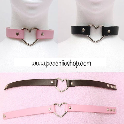 Pastel Goth Heart Choker Kawaii Harajuku Yami Kawaii Menhera 5 colours - peachiieshop