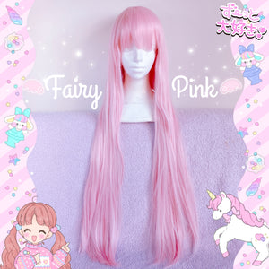 Fairy Pink Wig with Straight Bangs