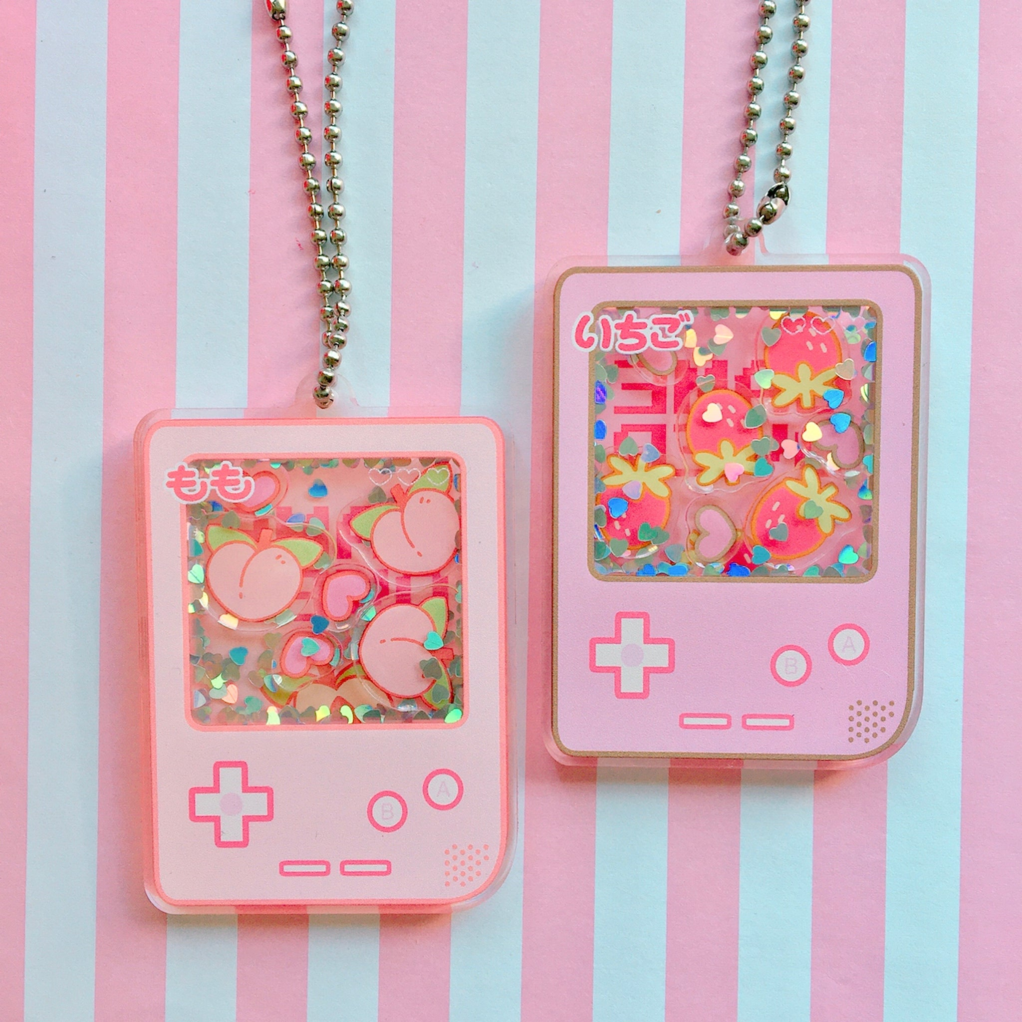 Strawberry & Peach Gameboy Shaker Keychains