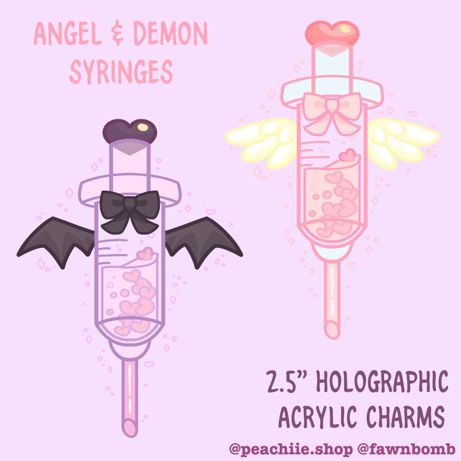 Menhera Syringe Keychains - Angel & Demon by fawnbomb - peachiieshop