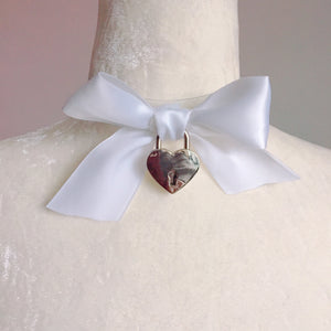 Magical Clear Ribbon Heart Lock Choker (4 colours) - peachiieshop