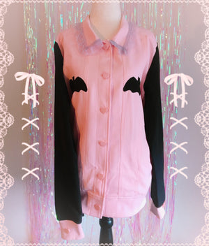 Lovely Sinner Pastel Pink Bat Jacket by fawnbomb - peachiieshop