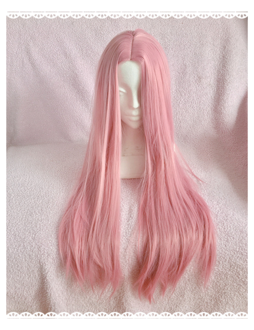 Long Straight Ash Pink Wig - peachiieshop