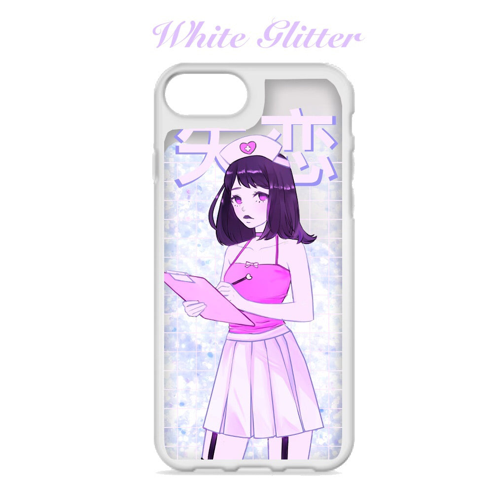 Heartbreak Hospital Glitter Shaker Soft Phone Case by fawnbomb (Pink or White) - peachiieshop