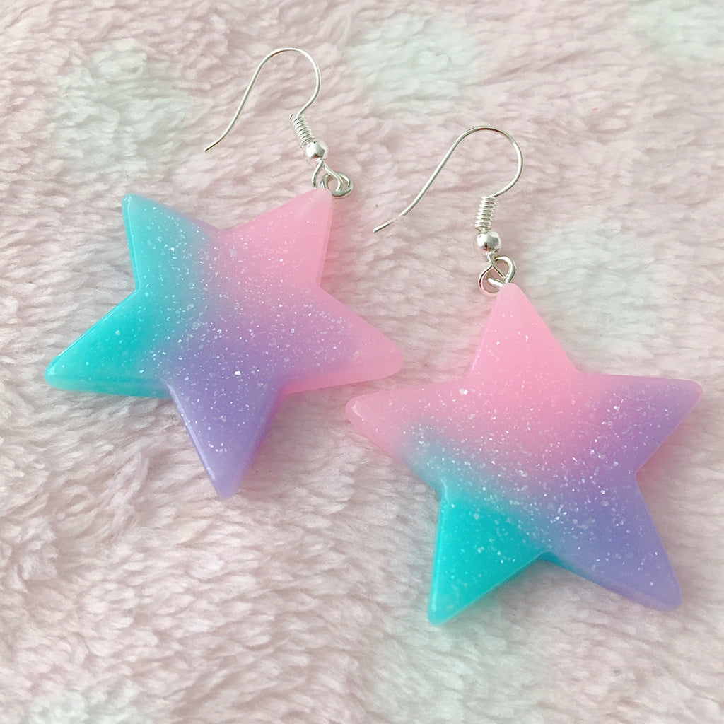 Glitter Star Pastel Rainbow Earrings - peachiieshop