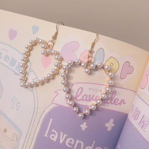 Pearl Heart Drop Earrings - peachiieshop