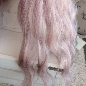 MILKY AMETHYST ROSE Wig LONG Wavy Fluffy Harajuku Mix Brown Taro Purple Lavender Ash Bangs 26inch Long - peachiieshop