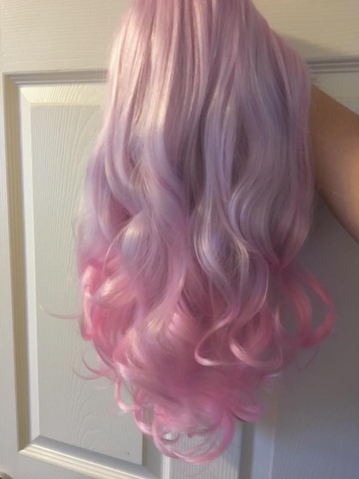 PINK MOON Wig Harajuku Kawaii Cute Fluffy Wavy Curly Long Pastel Emo Pinky - peachiieshop
