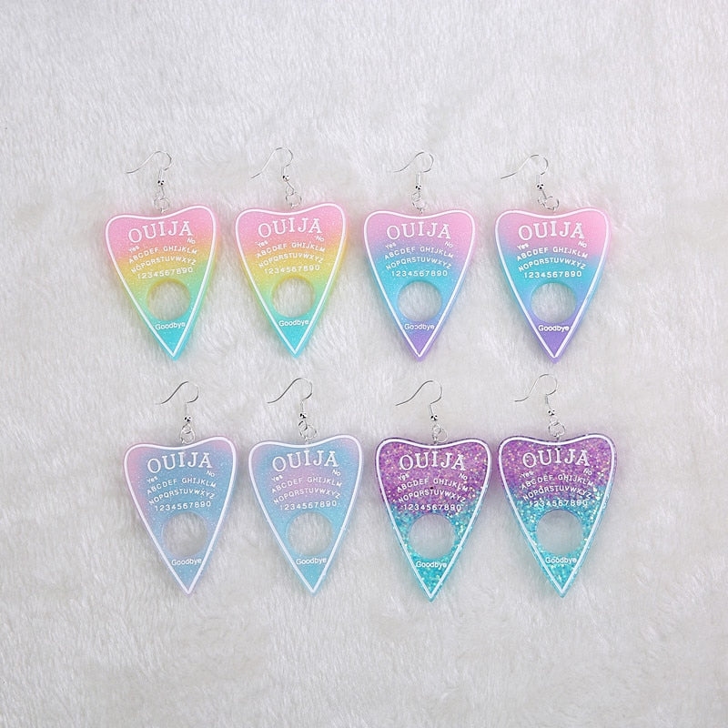 Pastel Rainbow Glitter Ouija Planchette Earrings (1 pair) - peachiieshop