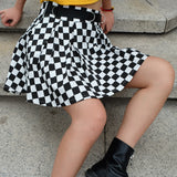 Checkered High Waisted Skater Skirt - peachiieshop