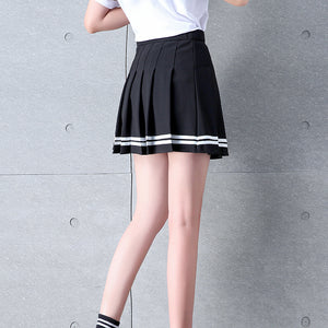 High Waisted Pleated Varsity Skirt (4 Colours) - peachiieshop