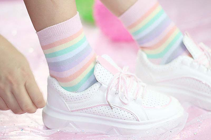 Kawaii Fairy Kei Rainbow Crew Socks