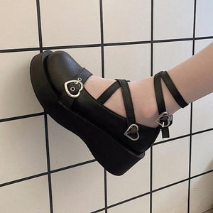 E-Girl Ballerina Heart Buckle Platform Shoes