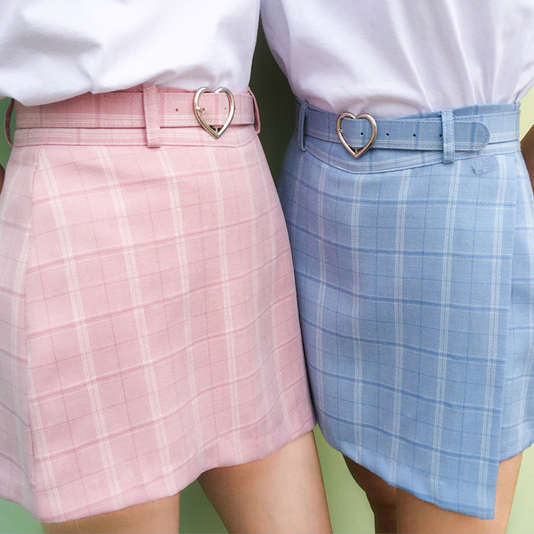 PASTEL Heart Buckle Plaid High Waisted Skirt ( 3 colours) - peachiieshop