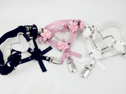 Elisa KAWAII Menhera Yami Kawaii Thigh High Garter Harness Heart Flower Foral Punk Emo Harajuku Spiky Gothic Pastel Goth Belt - peachiieshop