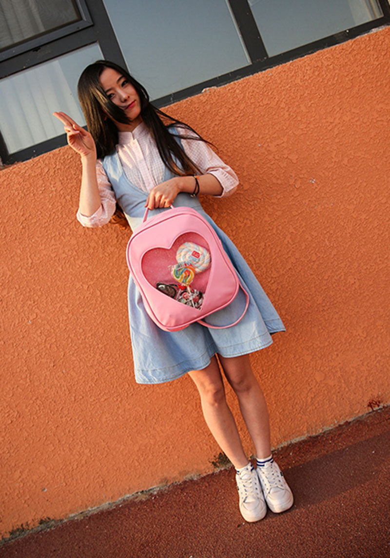 Kawaii Cute Harajuku Sparkly Glitter Heart Anime Pocket Itabag Ita Bag Backpack - peachiieshop