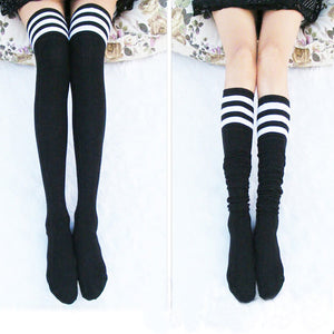 Pink and White Thigh High Socks (7 colours) - peachiieshop