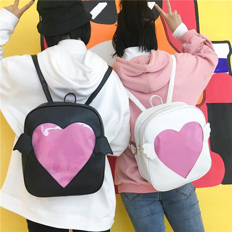 Kawaii Vegan Cruelty Free Glitter Cute Heart Pocket Wing Ita Bag Backpacks (2 colours) itabag - peachiieshop